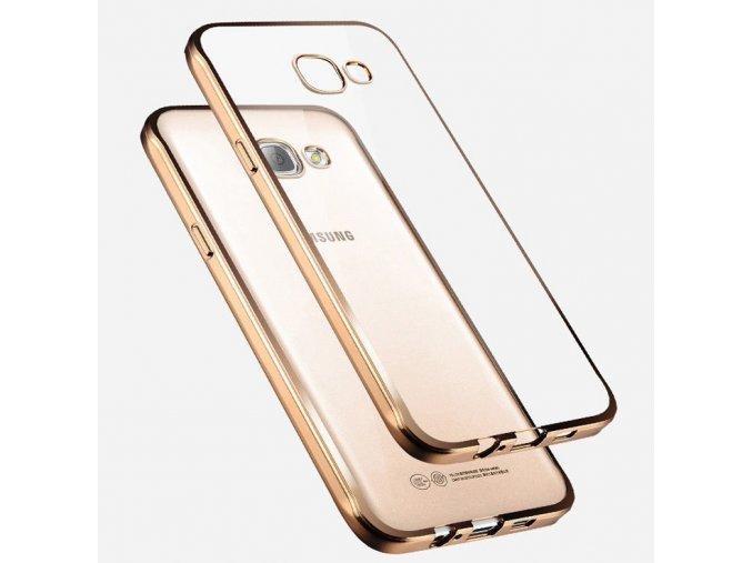 Silikónový kryt (obal) pre Samsung Galaxy A3 2017 (A320F) - priesvitný so zlatými okrajmi