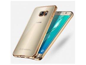 Silikónový kryt (obal) pre Samsung Galaxy S7 - priesvitný so zlatými okrajmi