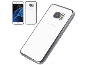 Silikónový kryt (obal) pre Samsung Galaxy S6 Edge Plus - priesvitný so šedými okrajmi