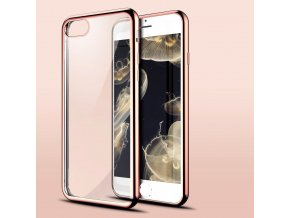 iPhone 7+/8+ (Plus) - silikónový kryt - priesvitný s rose gold okrajmi