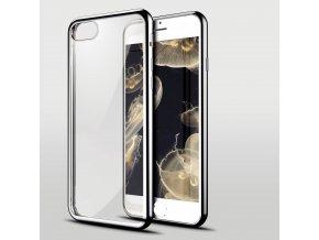 iPhone 7+/8+ (Plus) - silikónový kryt - priesvitný so striebornými okrajmi