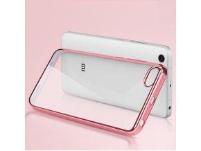 Silikónový kryt (obal) pre Xiaomi Mi5 - priesvitný s ružovými okrajmi
