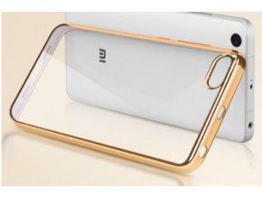 Silikónový kryt (obal) pre Xiaomi Mi5 - priesvitný so zlatými okrajmi
