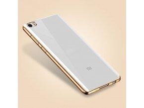 Silikónový kryt (obal) pre Xiaomi Redmi 3 - priesvitný so zlatými okrajmi