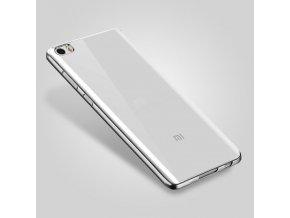 Silikónový kryt (obal) pre Xiaomi Redmi 3 - priesvitný so striebornými okrajmi