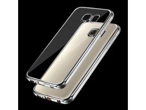 Silikónový kryt (obal) pre Samsung Galaxy S7 - priesvitný so striebornými okrajmi
