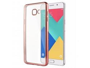 Silikónový kryt (obal) pre Samsung Galaxy A3 2017 - priesvitný s rose gold okrajmi