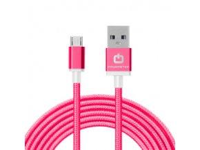 Dátový kábel POWERSTAR micro USB - tm. ružový