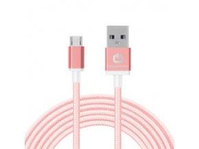 Dátový kábel POWERSTAR micro USB - sv. ružový