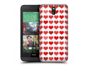 Plastový kryt (obal) pre HTC Desire 610 - srdiečkový/červený