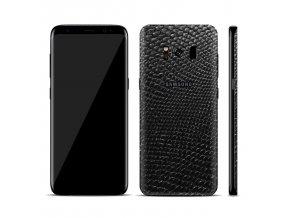 Dizajnová wrap fólia pre Samsung S8+ (PLUS) - čierna (vzor hadej kože)