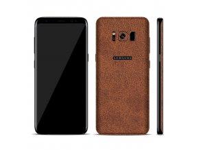 Dizajnová wrap fólia pre Samsung S8+ (PLUS) - hnedá (vzor kože)