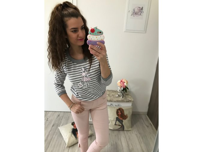 Mikina/Tričko FASHION GIRL - šedá