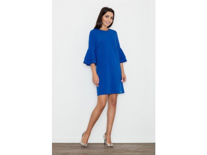 Šaty s volánovými rukávmi - modrá