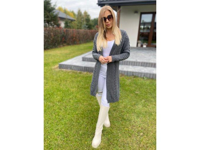 Y83 Dlhý sveter s pleteným vzorom 7