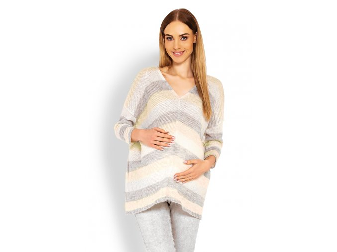 Tehotenský pruhovaný sveter