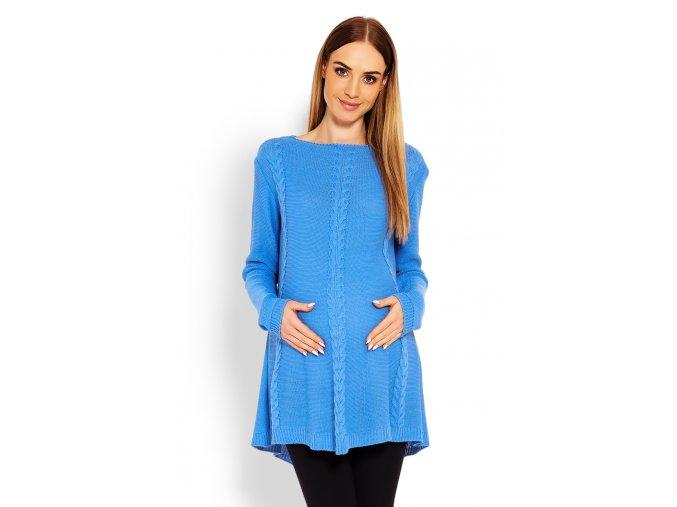 Tehotenský predĺžený sveter s pleteným vzorom