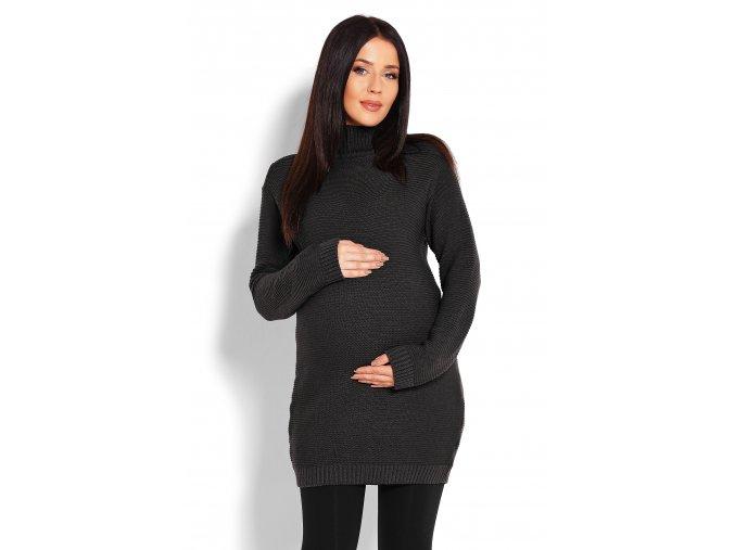 Tehotenské svetrové šaty so stojačikom grafit 1