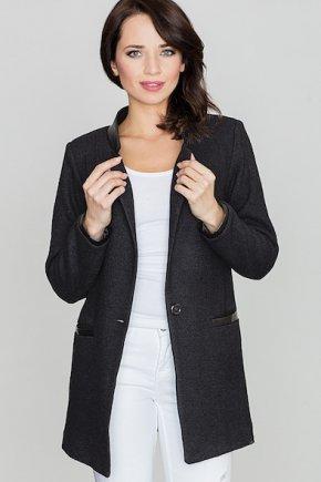 Kabát s aplikáciami z ekokože - čierna