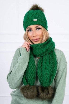 Súprava čiapka:šál zelena 20765 2