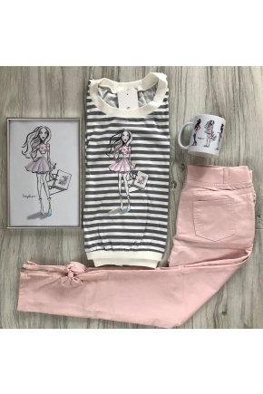 Set - FASHION GIRL + rifľové nohavice VYPREDANÉ