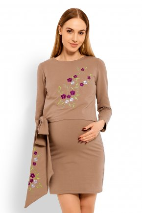 Tehotenské krátke šaty:tunika s výšivkou 24