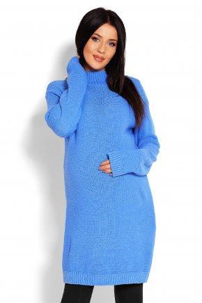 Tehotenské svetrové šaty so stojačikom jeans 1