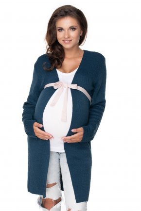 Tehotenský kardigán s kontrastným opaskom (1)