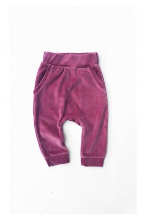 Detské zamatové nohavice fialová