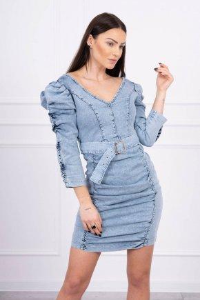 Džínsové šaty s puff rukávmi
