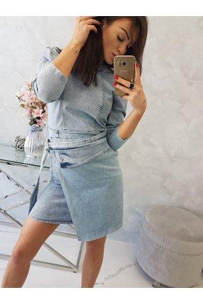 X96 Džínsové šaty so stojačikom