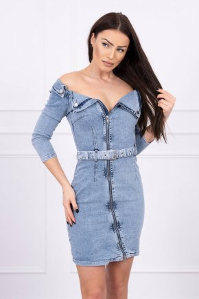 Džínsové šaty so zipsom a golierom