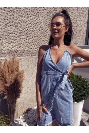 021 Džínsové šaty so zaväzovaním na krku