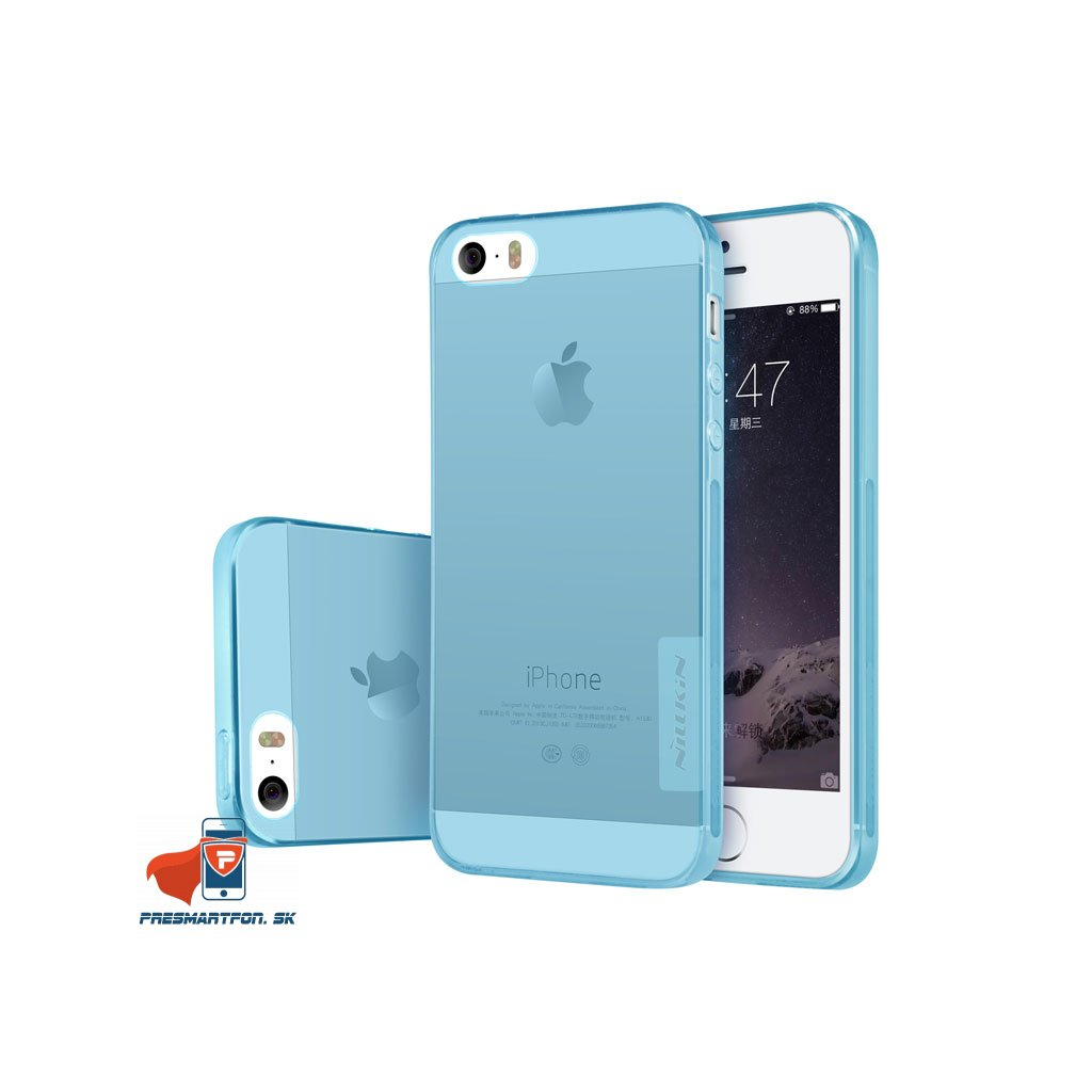 TPU obal iphone 5 5S SE priehladny svetlo modry