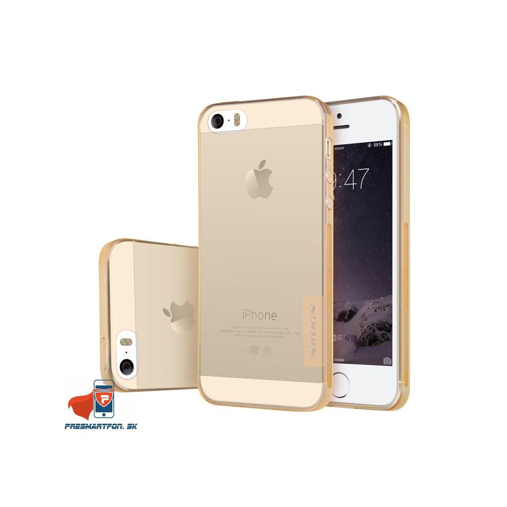 TPU obal iphone 5 5S SE priehladny zlaty