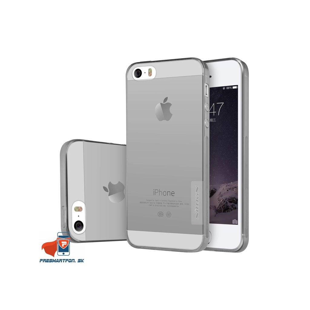 TPU obal iphone 5 5S SE priehladny sedy