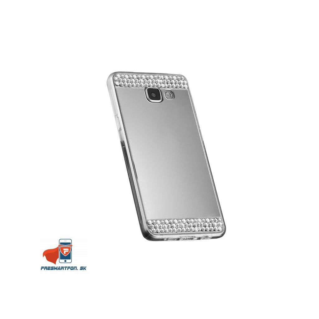 Samsung A3 2016 A3100 silikonovy zrkadlovy kamienky kryt strieborny 1