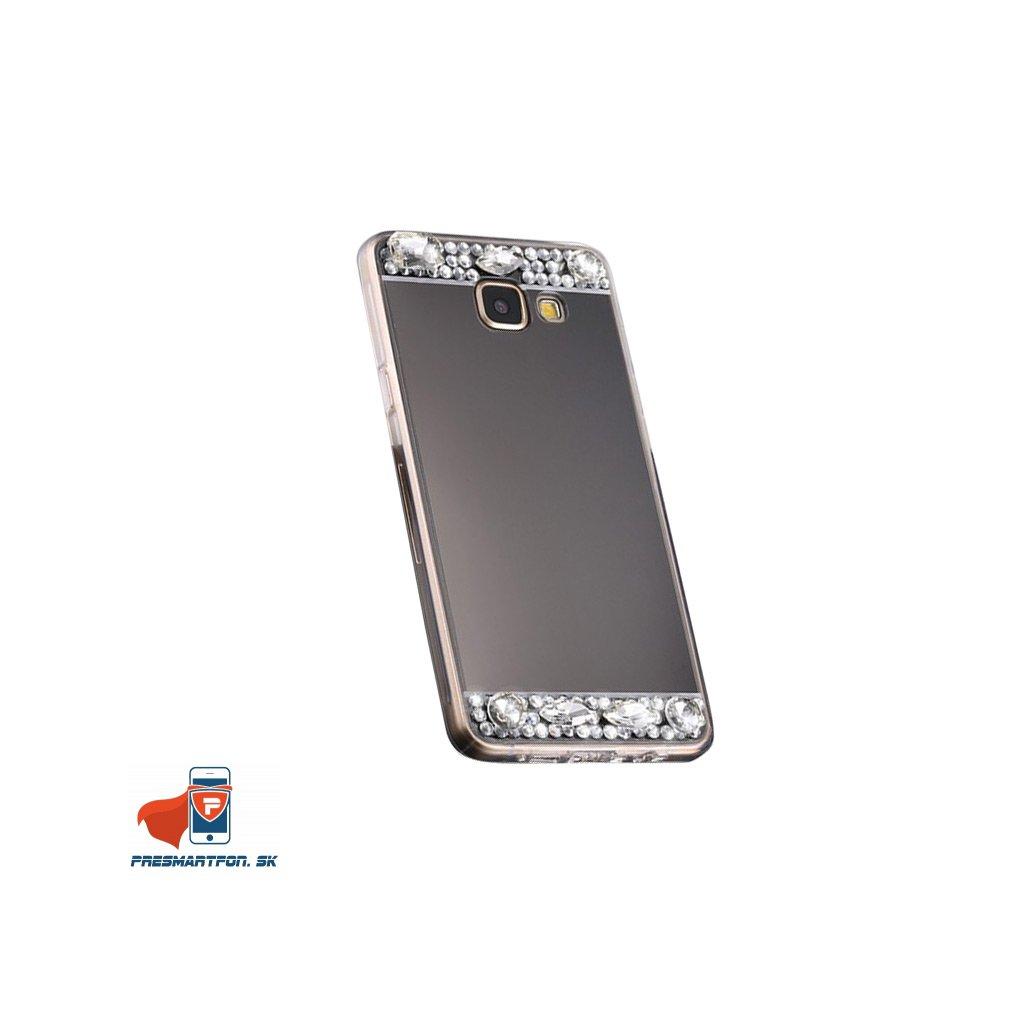 Samsung A3 2016 A3100 silikonovy zrkadlovy kamienky kryt cierny 1