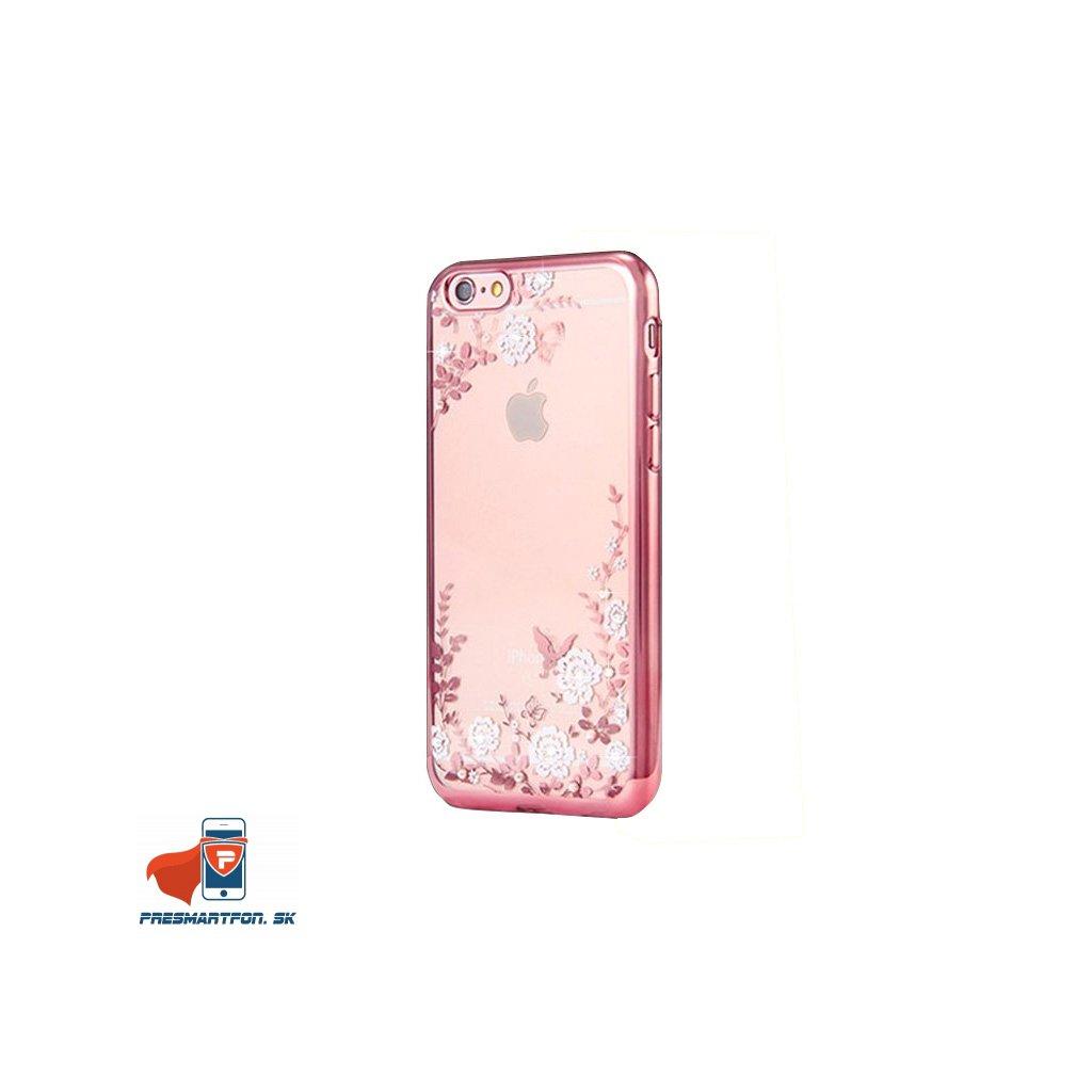 damsky silikonovy obal flower medeno biely iphone 6 6s