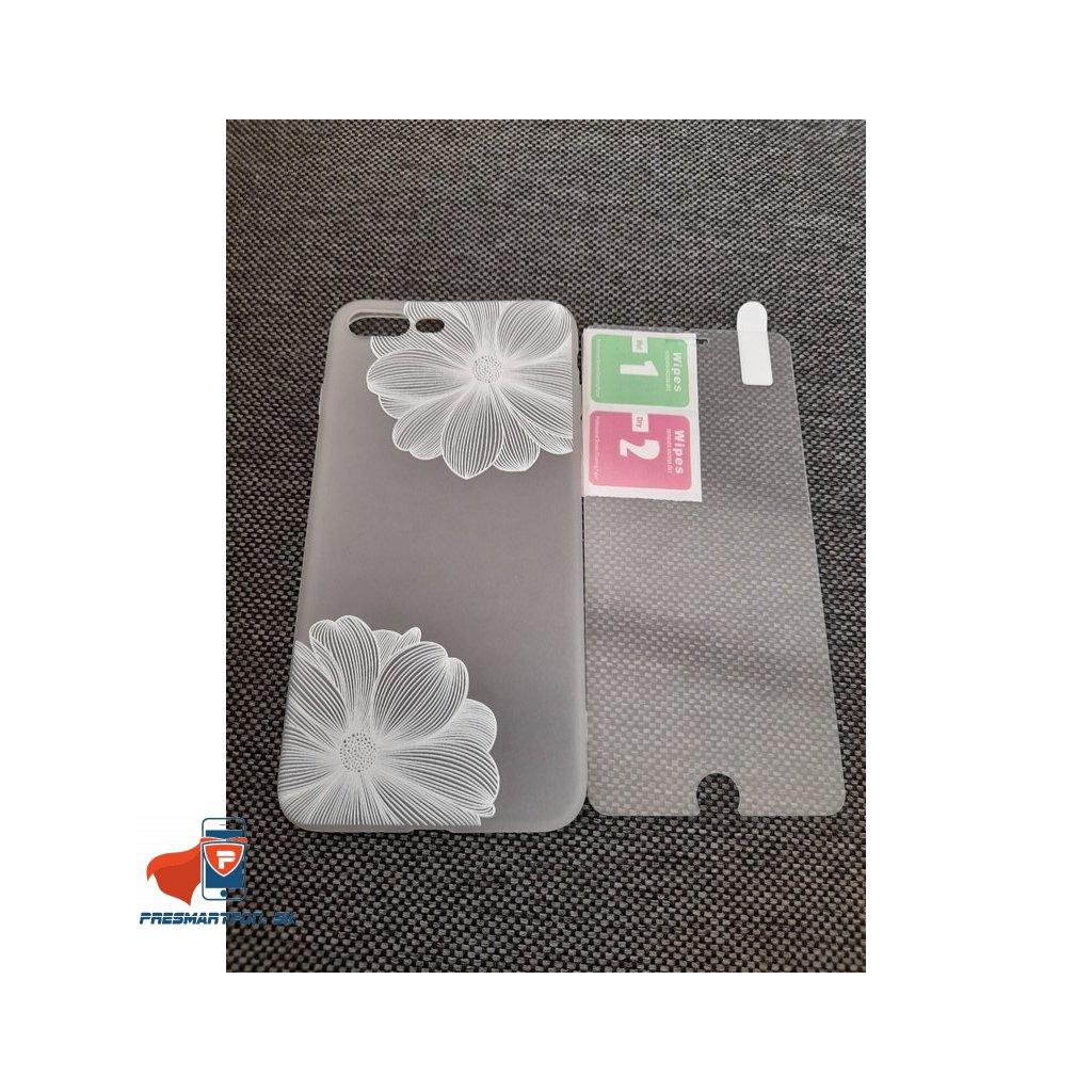 IPHONE 7 PLUS / 8 PLUS ZADNÉ PÚZDRO FLOWER, BIELE + OCHRANNÉ SKLO ZADARMO