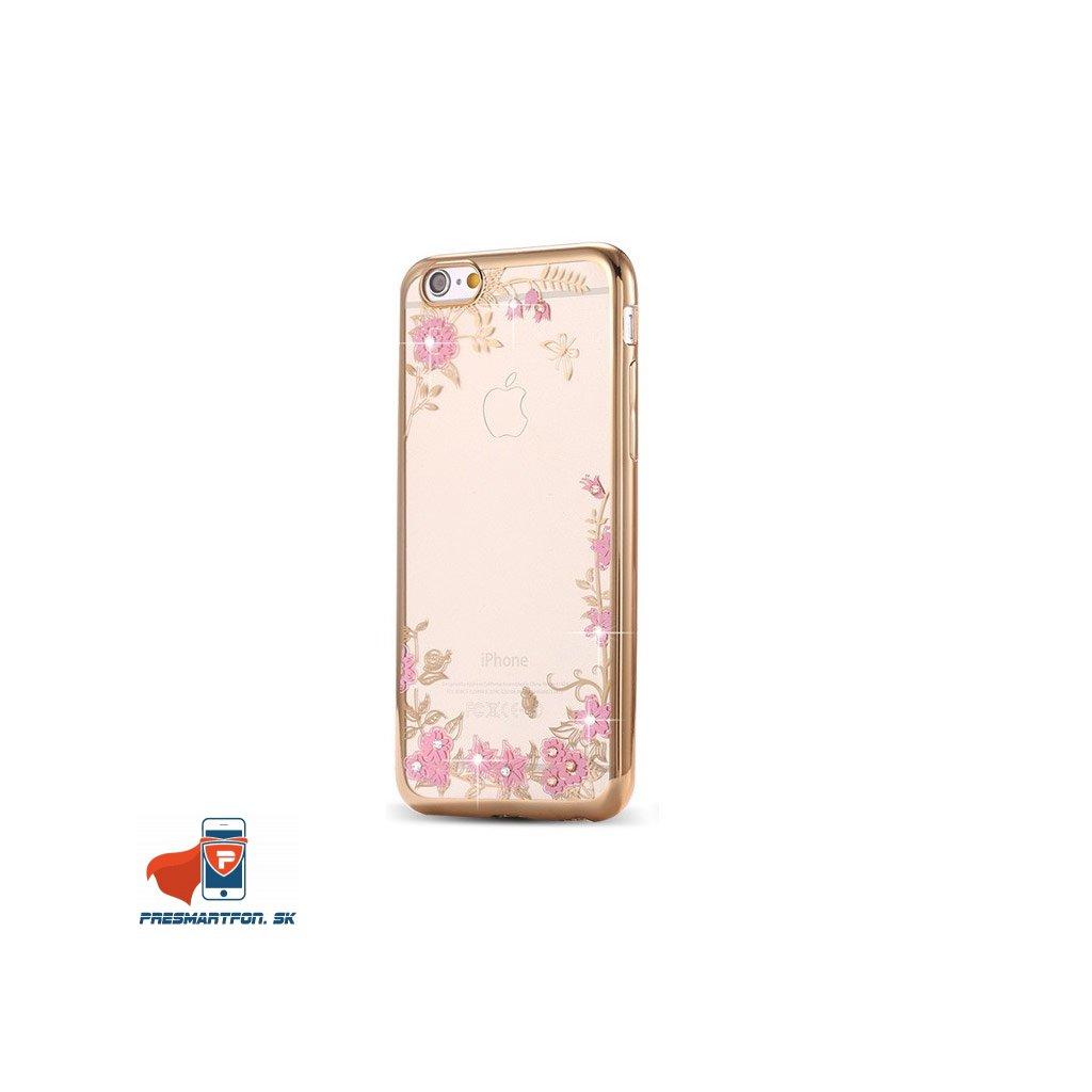 damsky silikonovy obal flower zlato ruzovy iphone 6 6s Plus