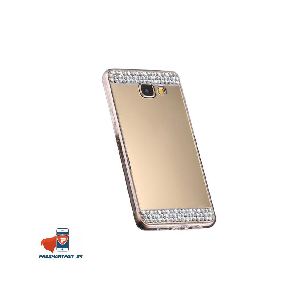Samsung S7 edge silikonovy zrkadlovy kamienky kryt zlaty 1