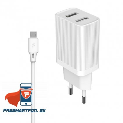 eng pl Kingkong charger EU adapter 2x USB 2 1A 1m micro USB cable white WP U79m white 55024 1