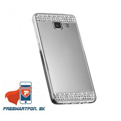 Samsung A5 2017 A520 silikonovy zrkadlovy kamienky kryt strieborny 1