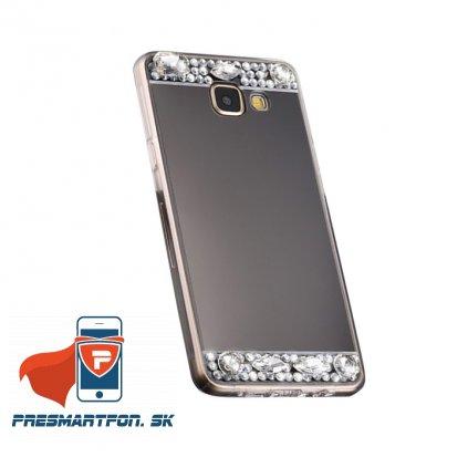 Samsung A5 2017 A520 silikonovy zrkadlovy kamienky kryt cierny 1