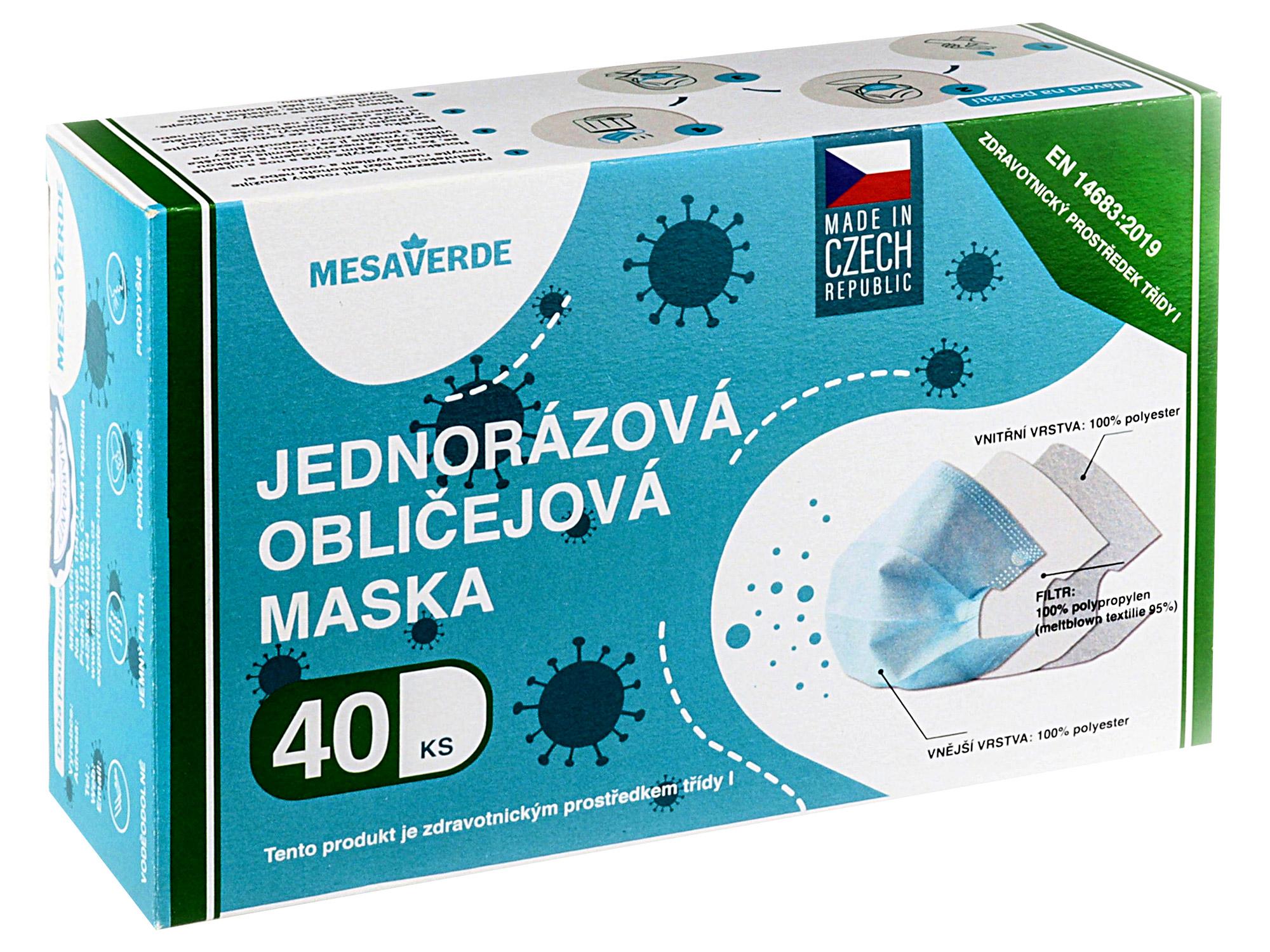 Levně Jednorázové certifikované zdravotní roušky MESAVERDE ČR 5000 ks + UV-C lampa zdarma
