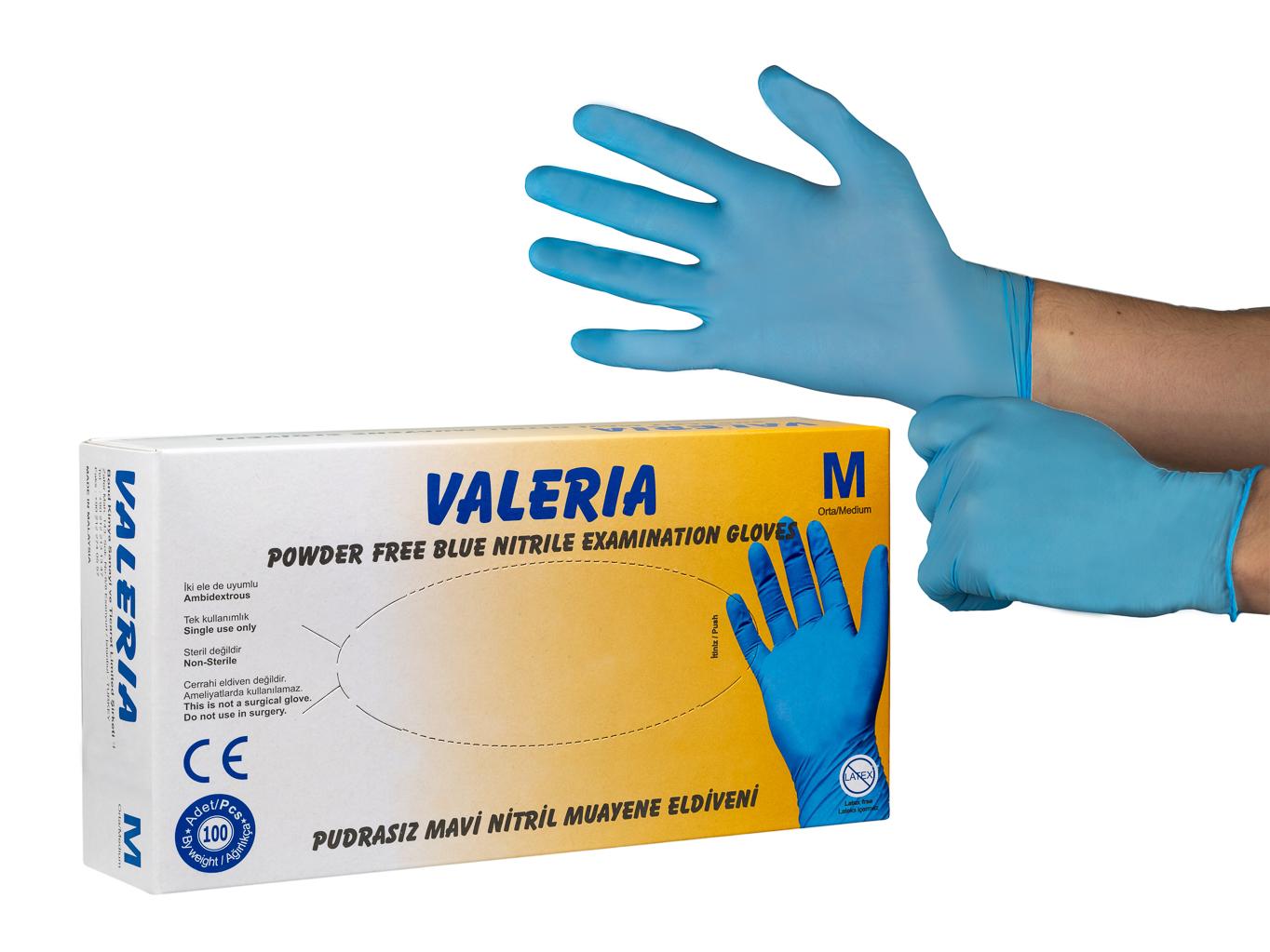 Levně Nitrilové jednorázové rukavice 100 ks bal. VALERIA Velikost: M