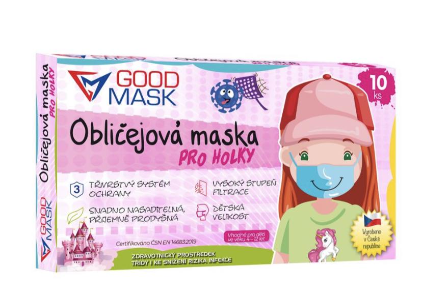 Levně Dětské certifikované zdravotní roušky dívčí GOODMASK 25 Ks