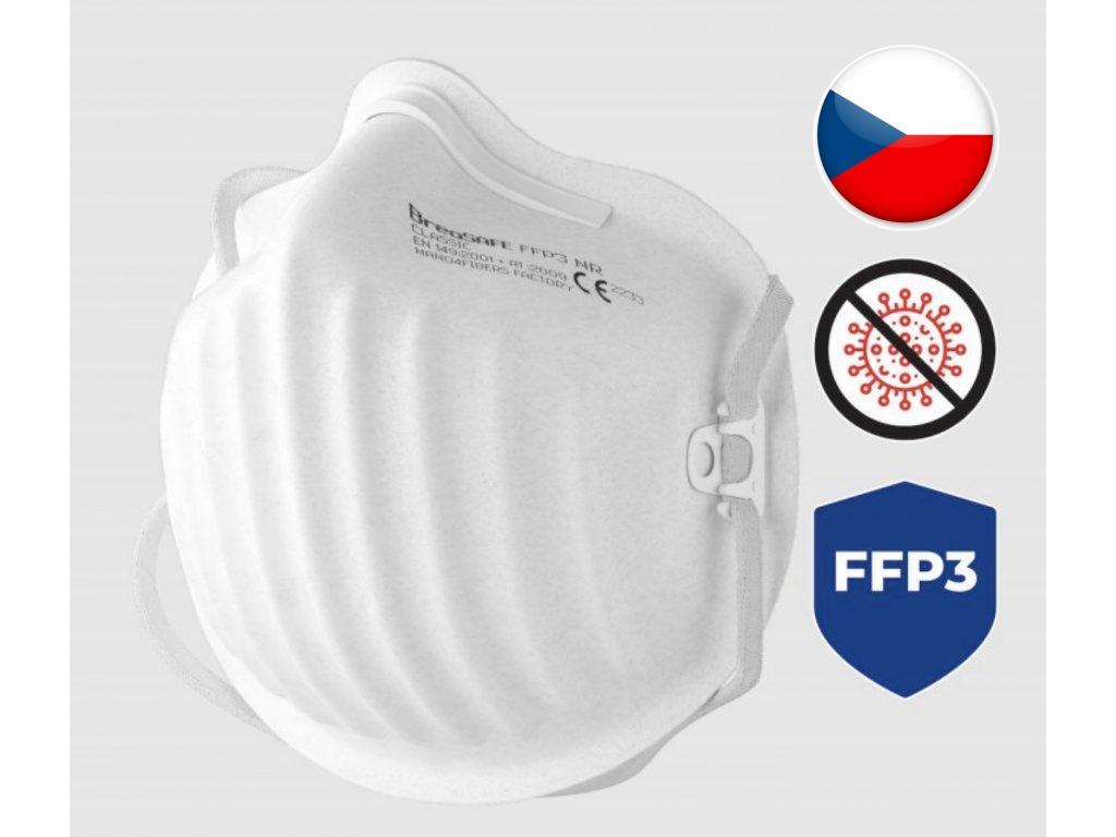 Levně Nano respirátor BreaSAFE CLASSIC FFP3 Pardam 3ks