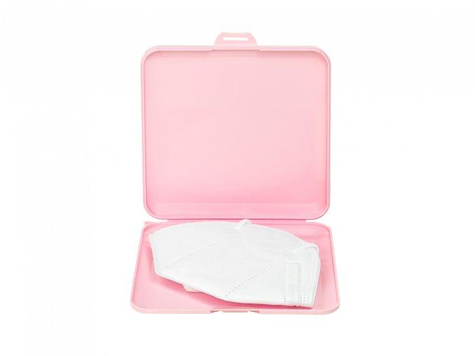 pouzdro na roušky růžové otevřené s respirátorem 1364x1024